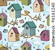 Birds and starling houses pattern - stock photo