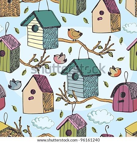 Birds and starling houses pattern - stock vector