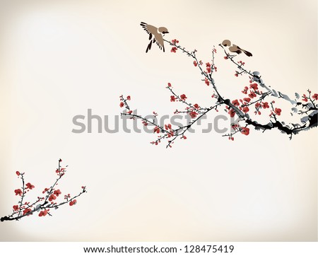 birds and winter sweet - stock vector