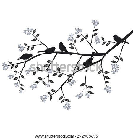 Birds are sitting on a blooming branch - vector illustration - stock vector