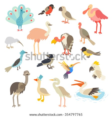 Birds art. Bird world,vector set illustration. Birds icon, birds print. Isolated on white background.Goose,ostrich,heron,spoonbill flat characters. Emu,peacock,turkey cartoon style.Cocatoo,parrot,kiwi - stock vector