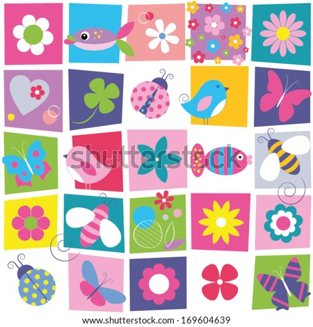 birds bees ladybugs butterflies fish and flowers collection pattern on colorful rectangular background - stock vector