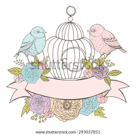 Birds, Cage, Flowers and Ribbon