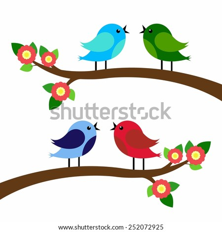 birds colorful on tree branches silhouettes.