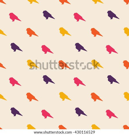 Birds colorful seamless background - stock vector