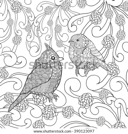 Birds Coloring Page Animals Hand Drawn Doodle Ethnic Patterned Illustration African