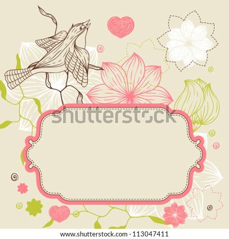Birds, flower and hearts concept. Vector illustration. - stock vector