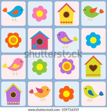 Birds, flowers and birdhouses. Seamless vector pattern - stock vector