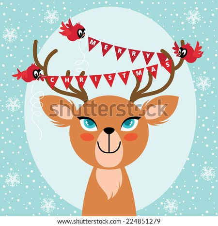 Birds hang Christmas lights on the horns of a deer/Birds and Christmas reindeer/Christmas card with bird and deer - stock vector