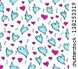 birds heart fly group element color sketch seamless pattern background blue white - stock vector