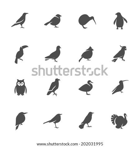 Birds icon set - stock vector
