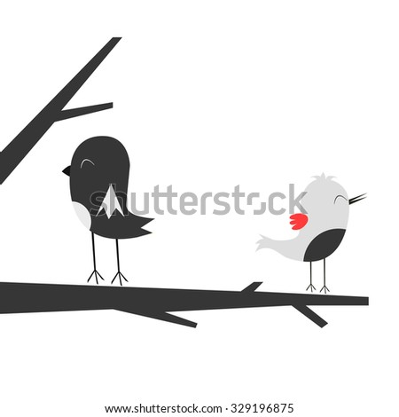 birds in a tree, flat, stylized background - stock vector