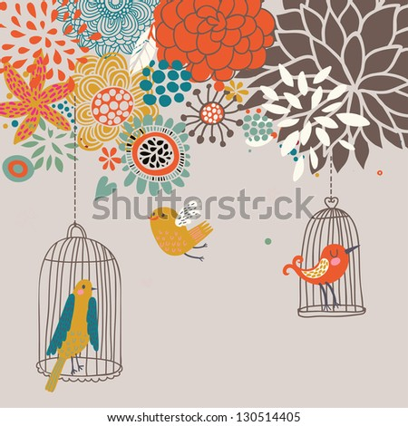 Birds in cages. Cartoon floral background in vector. Spring concept