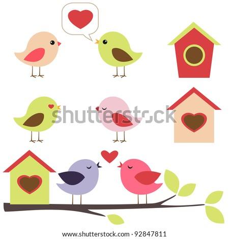 Birds in love vector set - stock vector