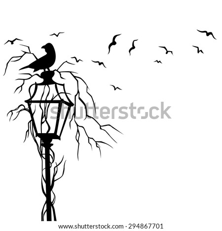 Birds In Street Wall Decal Vector Illustration - stock vector
