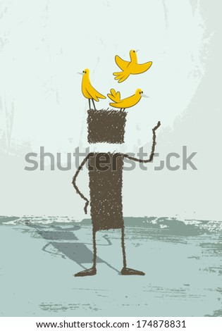 Birds in the head. A person is standing. At its head are several birds perched. A conceptual illustration of the phrase have birds on the head. Being distracted, scatterbrained, be a dreamer. EPS8. - stock vector
