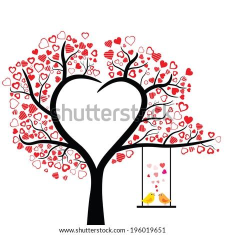 birds love design over white background, vector illustration  - stock vector