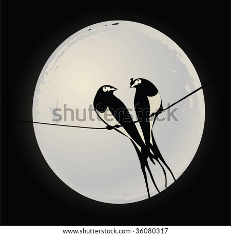 Birds on a wire - stock vector