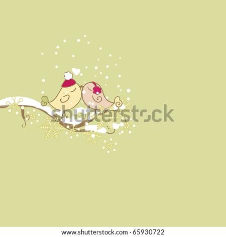 birds on branch - stock vector