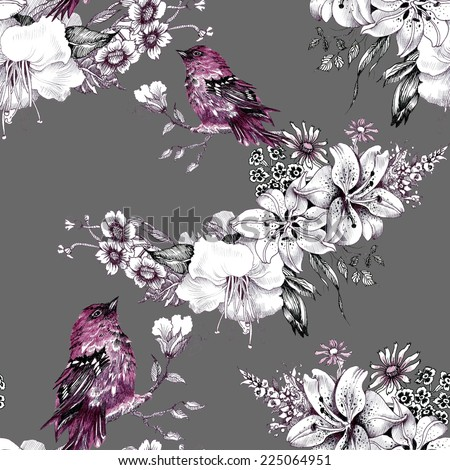 Birds on branch with flowers seamless pattern on gray background vector illustration - stock vector
