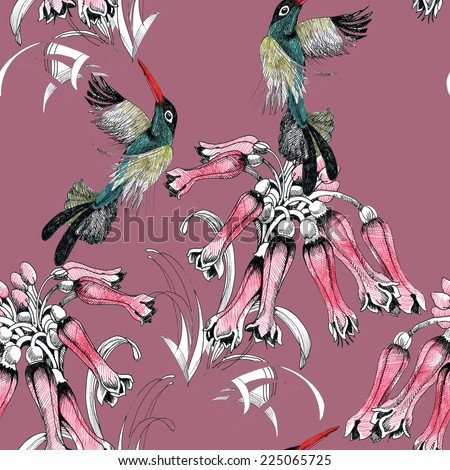 Birds on branch with flowers seamless pattern on pink background vector illustration - stock vector