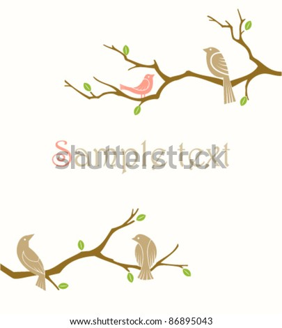 birds on branches - stock vector