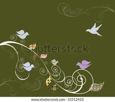 Birds on swirly trees background - stock vector