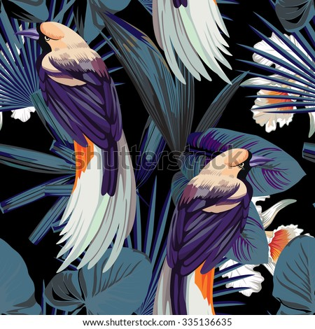 birds, orchids and night jungle seamless background - stock vector