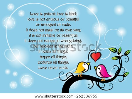 birds say: Love is patient - stock vector