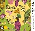 Birds seamless pattern - stock vector