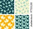 birds - seamless pattern - stock vector