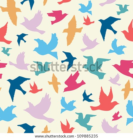 Birds seamless pattern, colorful texture on white background - stock vector