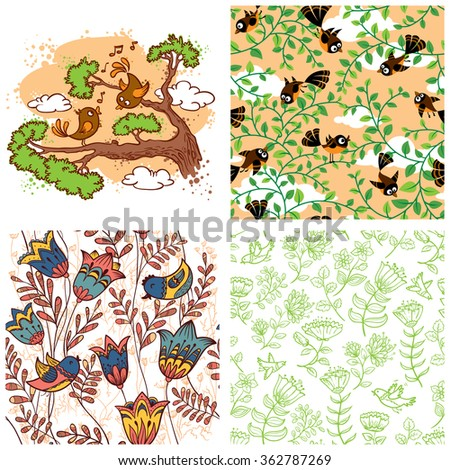 Birds set. Couple of birds illustration and floral seamless patterns - stock vector