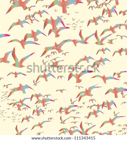 birds silhouette - stock vector