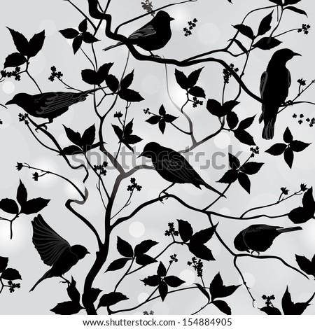 Birds silhouette on branch and  leaf seamless background. Floral vector pattern. Vector ornamental illustration.  - stock vector