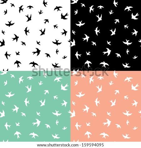 Birds Silhouette Seamless Pattern - stock vector