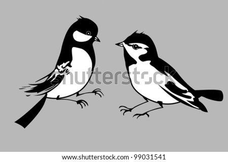 birds silhouettes on gray background, vector illustration - stock vector