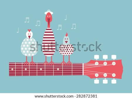 Birds singing on the guitar neck, vector cartoon illustration, flat design, blue background - stock vector