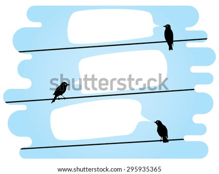 birds sitting on a wire talking to each other - stock vector