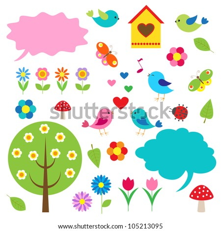 Birds,trees and bubbles for speech. Vector set - stock vector