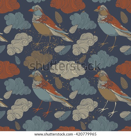 Birds with clouds, seamless pattern on white background vector illustration - stock vector