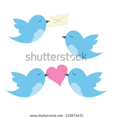 Birds with envelope and hearts