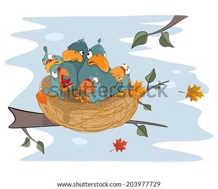 Birds with her four babies in the nest  cartoon - stock vector