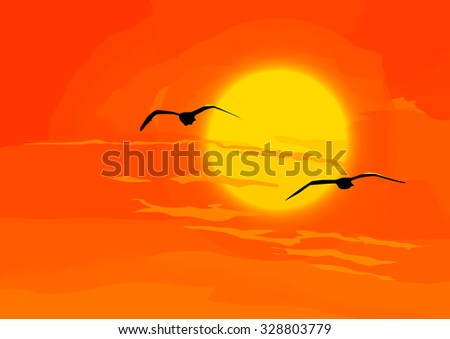 Birds with orange sunset on the background, vector illustration