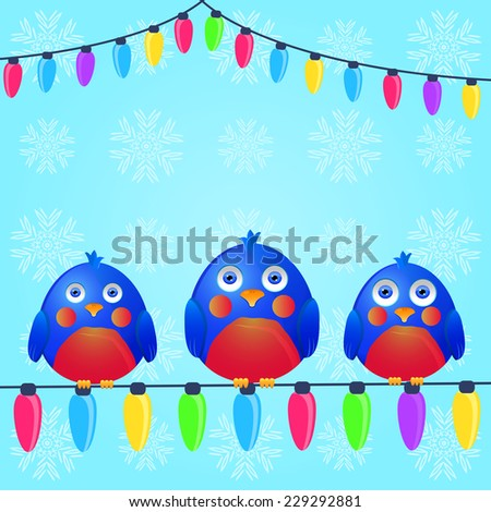 Birds with Seats on Christmas Light Wire. Season Greeting. Vector Illustration. - stock vector