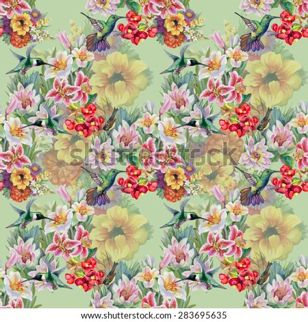 Birds with watercolor garden flowers seamless pattern on green background vector illustration - stock vector
