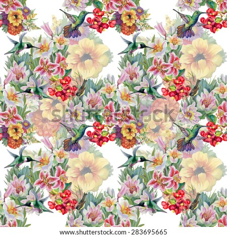 Birds with watercolor garden flowers seamless pattern on white background vector illustration - stock vector