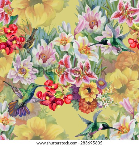 Birds with watercolor garden flowers seamless pattern on yellow background vector illustration - stock vector