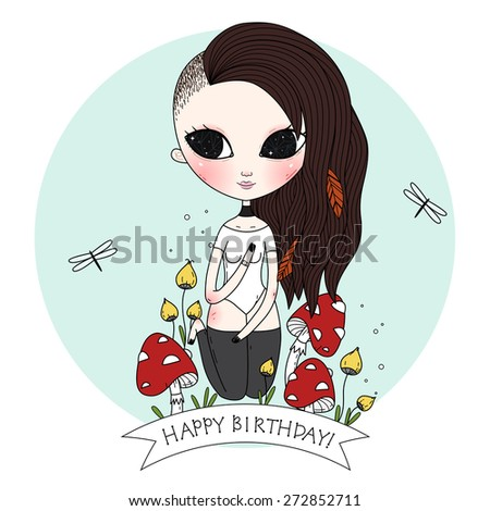 Birth day background or card. Whimsical illustration. Vector. - stock vector