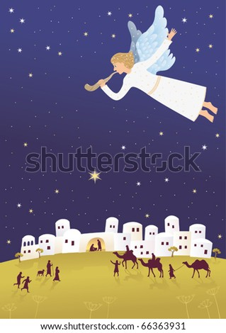 Birth of Jesus. Angel is blowing the shofar, announcing good news. - stock vector